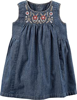 Baby Girls' Embroidered Chambray Dress