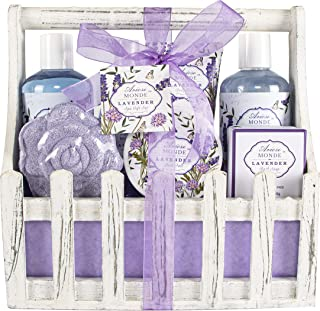 Bath Spa Basket Gift Set, with Lavender & Jasmine Scent, Home Spa Gift Basket Kits for Women, Includes Body Lotion, Shower Gel, Bath Salts, Bubble Bath, Body Mist, Bath Soap, Bath Bomb, 8 Pack