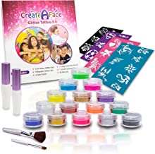 Glitter Tattoo Kit for Girls (15 X-Large Color Jars, 32 Cool Tattoos Stencils, 2 Glue Applicator & 2 Cosmetic Brushes) FDA Compliant, Hypoallergenic, Waterproof and Easy to Apply