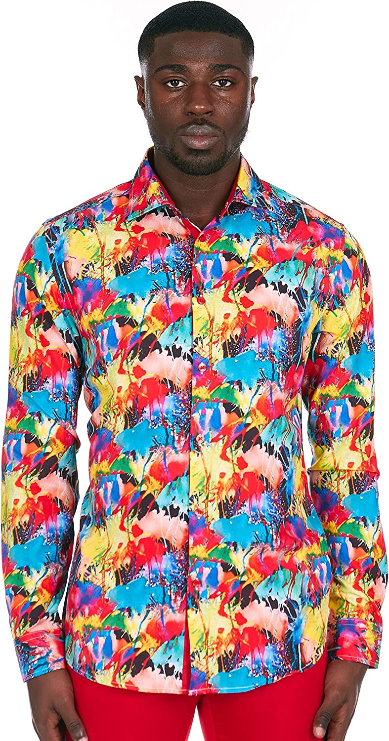 Azaro Uomo Men's Colorful Printed Casual Shirt Button Down Slim Fit Long Sleeve