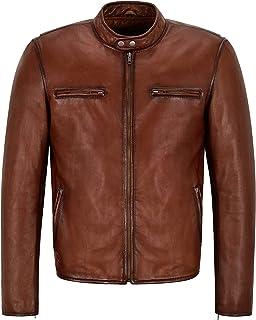 Racer Mens Leather Jacket Dark Saddle Classic Bikers Fashion Real Leather Jacket 5200