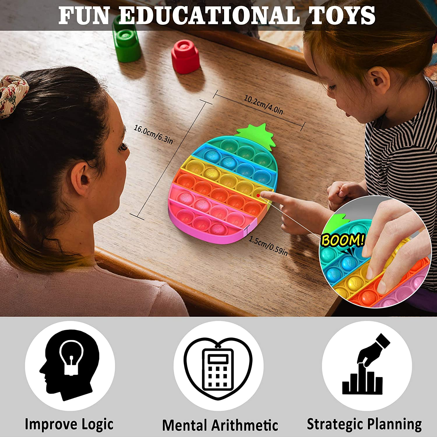Rainbow Dinosaur Autism Special Needs Stress Reliever Pop Fidget Toy for Kids and Adults Washable and Reusable Silicone Pop Fidget Toy Push Pop Bubble Fidget Sensory Toy