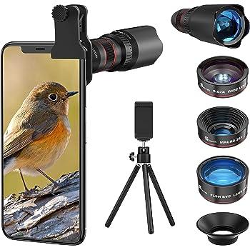 4in1 2020新型 スマホ用カメラレンズ 進化版HD22倍望遠レンズ付きスマホレンズ㍜セット スマトフォン用カメラレンズ トリプルレンズキット 0.62倍広角 25倍マイクロレンズ 235°魚眼 ミニ三脚 収納バック付き iphone XR 11 X XSmax 8 8p 7 7Pシリーズ、Samsung、galaxy Android タブレットなど対応