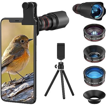 7 in1 スマホ用カメラレンズ HD22倍望遠レンズ付き スマホレンズ㍜セット スマトフォン用カメラレンズ トリプルレンズキット 0.62倍広角 25倍マイクロレンズ 235°魚眼 ミニ三脚 収納バック付き iphone XR 11 X XSmax 8 8p 7 7Pシリーズ、Samsung、galaxy Android タブレットなど対応