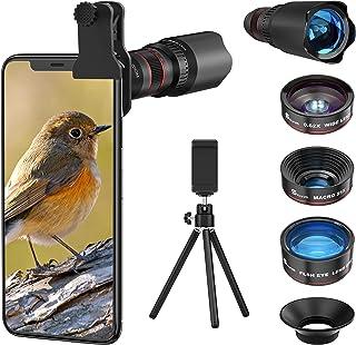 4in1 スマホ用カメラレンズ 進化版HD22倍望遠レンズ付きスマホレンズ㍜セット スマトフォン用カメラレンズ トリプルレンズキット 0.62倍広角 25倍マイクロレンズ 235°魚眼 ミニ三脚 収納バック付き iphone XR 11 X X...