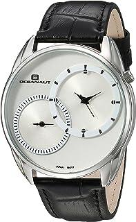 Oceanaut Men's Sentinel Stainless Steel Quartz Watch with Leather Strap, Black, 20 (Model: OC3352)