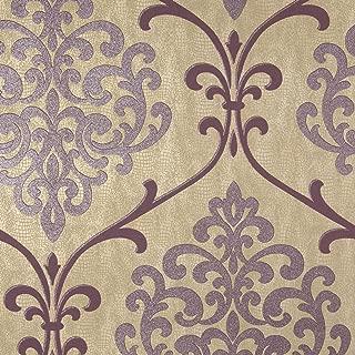 Kenneth James 2542-20713 Ambrosia Glitter Damask Wallpaper, Mauve