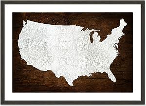 "Casa Fine Arts Wood Texture County Lines USA Map Archival Art Print, 9833, Black Woodgrain Texture Frame, 34.5"" x 24.5"""