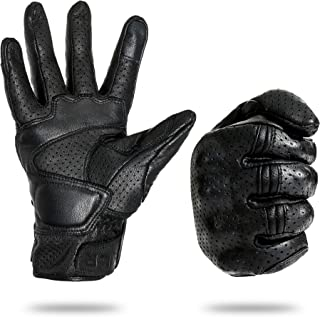 American Legend Rider Motorcycle Gloves – Hard Knuckle Gloves with Antiskid Grip – Men/Women Leather Motorcycle Gloves Breathable Sheepskin – Touchscreen Finger Pad - M,L,XL