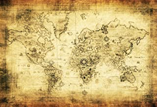 Baocicco 7x5ft Retro World Map Backdrop Art Wall Pattern Backdrop Photography Background Room Decor Navigation Tool Landmark Artistic Photo Portraits Photo Shooting Booth Props