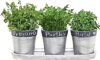 MyGift 3 Inch Decorative Black & Silver Tone Ceramic Plant Flower Planter Pots with Saucer - Set of 3