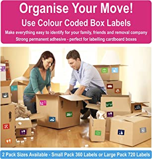 Permanent Home Moving Colour Coded Box Labels/Stickers - Organise Your House Move (Large Pack - 720 Stickers)