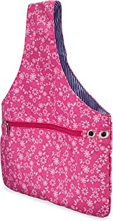 JamieCraft Yarn Bag – Portable, Light, and Easy to Carry Canvas Wrist Bag for Crochet and Knitting On The Go, Project Bag Holds Supplies and 14 Inch Needles or Hooks (Pink Floral)