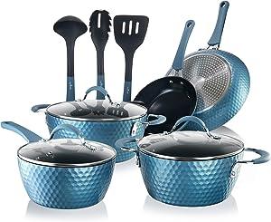 NutriChef NCCW11BD Nonstick Cookware Excilon | Home Kitchen Ware Pots & Pan Set with Saucepan, Frying Pans, Cooking Pots, Lids, Utensil PTFE/PFOA/PFOS free, 11 Pcs, Royal Blue