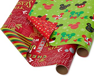Papyrus 6392757 Gift wrapping paper, 2-Roll, Mickey Mouse and Holiday Text
