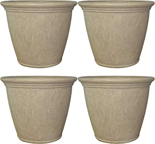 Sponsored Ad - Sunnydaze Anjelica Flower Pot Planter, Outdoor/Indoor Unbreakable Double-Walled Polyresin with UV-Resistant...