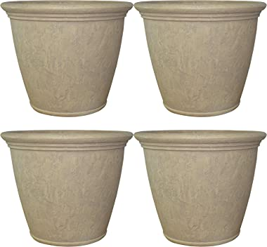 Sunnydaze Anjelica Flower Pot Planter, Outdoor/Indoor Unbreakable Double-Walled Polyresin with UV-Resistant Pebble Grey Finish, Set of 4, Large 24-Inch Diameter
