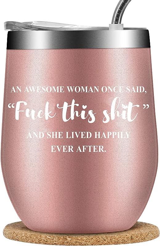 SUERTEROJA Wine Tumble For Women With Cork Coaster Double Wall Vacuum Insulated Travel Glasse Birthday Gift