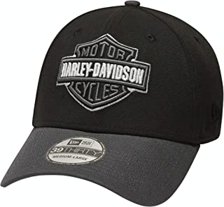 HARLEY-DAVIDSON Men's Embroidered Logo Contrast 39Thirty Cap, Black