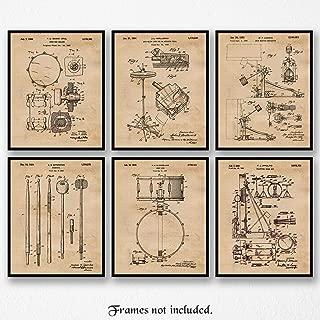 Original Drums Patent Poster Prints, Set of 6 (8x10) Unframed Photos, Wall Art Decor Gifts Under 20 for Home, Office, Garage, Man Cave, Shop, Student, Teacher, Musician, DJ, Band & Rock n Roll Fan