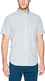 قميص رجالي من نوتيكا مقاوم للتجاعيد بأكمام قصيرة منقوشة بأزرار أمامية