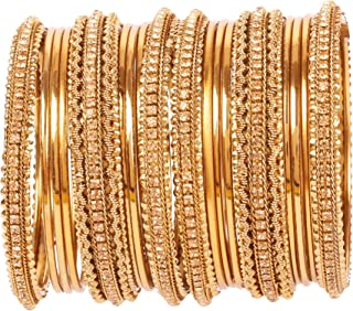 Touchstone New Golden Bangle Collection Indian Bollywood Kundan Look Yellow Rhinestone Golden Beads Metal Bangle Bracelets...