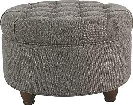 HomePop Large Button Tufted Round Storage Ottoman, Dark Gray