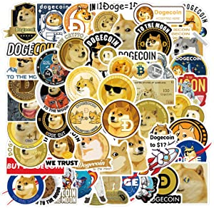 Dogecoin Sticker Pack Vinyl Sticker Decal (Pack of 50) for Fans of Dogecoin, Doge, Cryptocurrency, Crypto, Blockchain, Bitcoin, Ethereum, WSB Wallstreetbets, GME Gamestop, Stonks, Decals