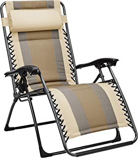Amazon Basics Outdoor Padded Adjustable Zero Gravity Folding Reclining Lounge Chair with Pillow - Tan