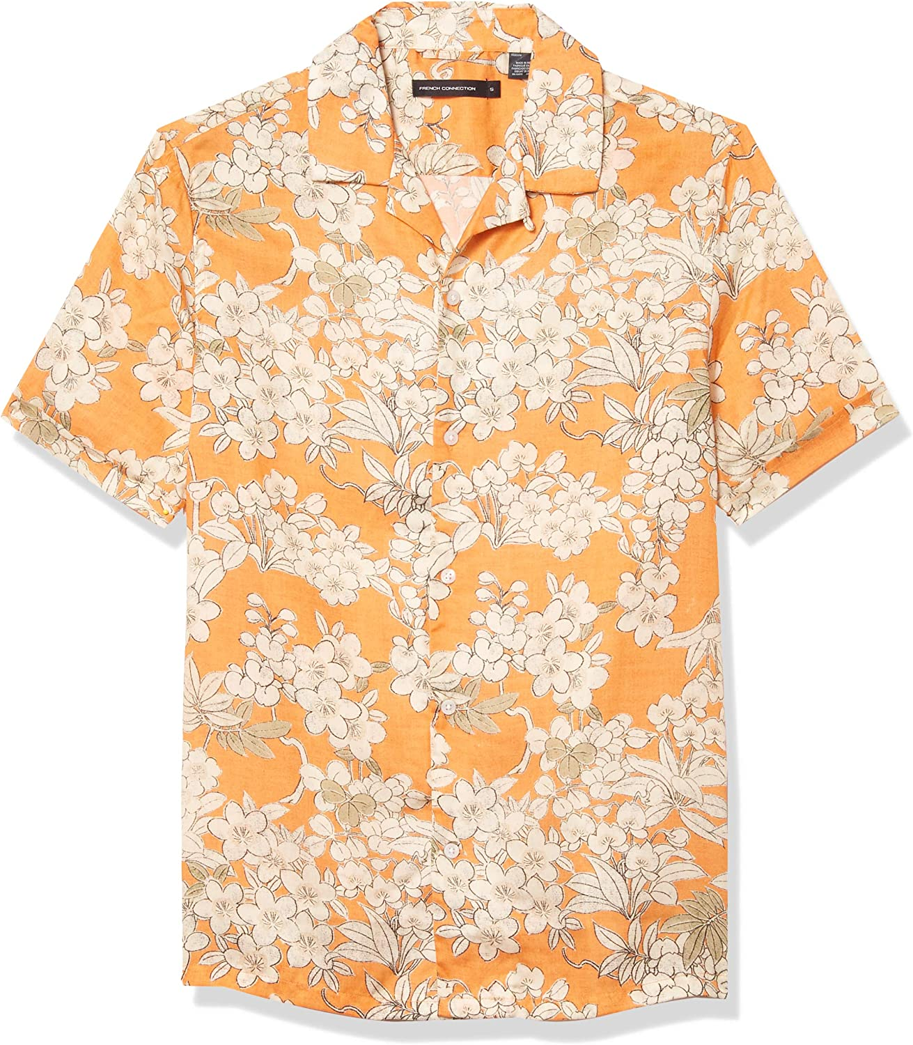 French Connection Men's Short Sleeve Button Popular popular Fit Printed Regular Fort Worth Mall