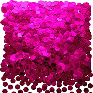 Hot Pink Foil Metallic Round Table Confetti Decor Circle Dots Mylar Table Scatter Confetti Wedding Bachelorette Baby Shower Girls Birthday Party Confetti Decorations, 50g