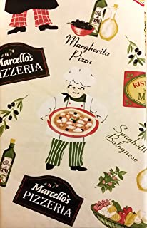 Pizzeria Pictorial Flannel Backed Vinyl Tablecloth (60 Inch Round)
