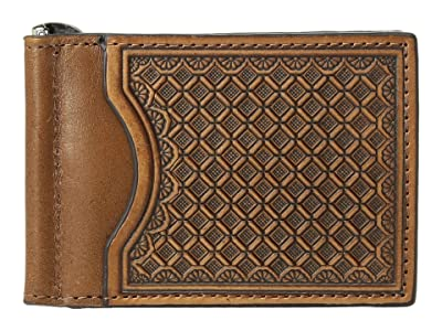M&F Western Embossed Tooled Bifold Money Clip Wallet (Tan) Wallet Handbags