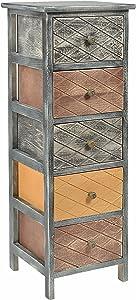 ts-ideen Table de chevet Table de nuit Commode Chiffonnier 5 tiroirs Noir/marron/beige
