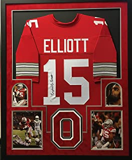 Ezekiel Elliott Ohio State Buckeyes Autograph Signed Custom Framed Jersey 4 PIC Red Suede Matted JSA Witnessed Certified