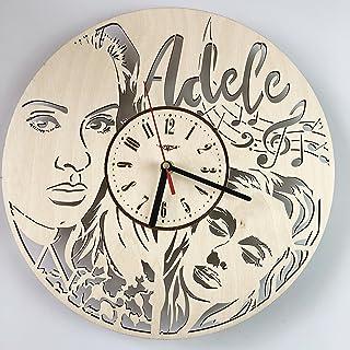 Adele アデル木製掛け時計ー完璧で美しく作られたー現代アートで自宅を飾ろうー彼と彼女にユニークなギフトーサイズ12インチ(30 ㎝)