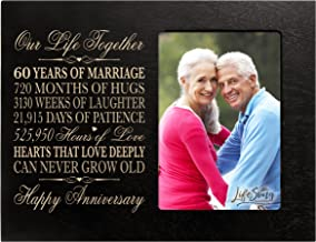 60th for her him 60 Year Wedding for Couple Parents Celebration Picture Frame Holds 4x6 Photo 8