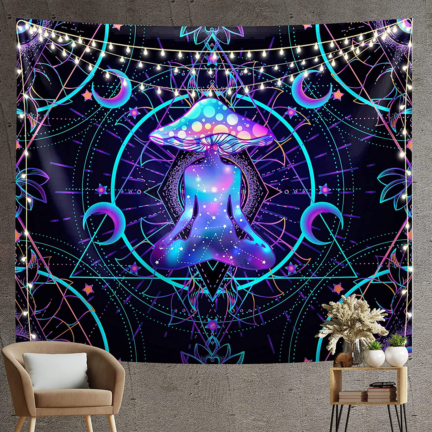 Max 61% OFF Trippy Tapestry Psychedelic Max 72% OFF Wall Bl Hanging Mushroom Chakra