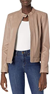 Cole Haan Women's Leather Racer Jacket with Quilted Panels