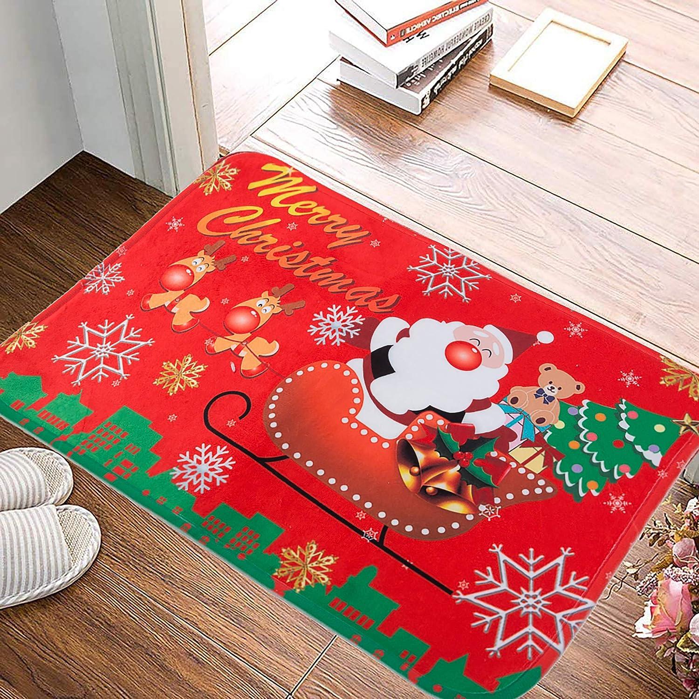 AILIMY Christmas Doormat Xmas Santa Claus Print Entry Way Indoor Floor Mats Anti-Skip Rugs Carpets for Kitchen Living Room Bedroom Bathroom