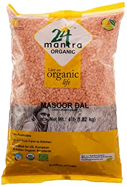 24 Mantra Organic Masoor Dal - 4 lbs, (Pack of 1)