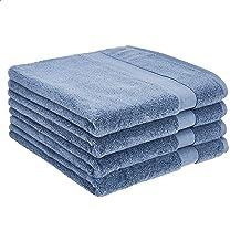 AmazonBasics Dual Performance Bath Towel - 4-Pack, True Blue