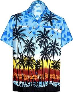 c12c6a689 LA LEELA Shirt Casual Button Down Short Sleeve Beach Shirt Men Aloha Pocket  213