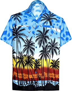 Men's Relaxed Short Sleeve Button Down Casual Hawaiian Shirt Printed D