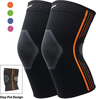 Compression Knee Sleeve for Arthritis Premium Knee Brace for Running Hiking Crossfit Cycling Squats Weightlifting Stay-Put Breathable - 4 Colors (Orange, Large 2-Pack)