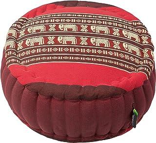 Handelsturm Zafu - Cojín de meditación con relleno de kapok de 34 x 15 cm, cojín de colores para meditación sentada o meditación zen (rojo con elefantes)