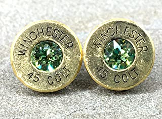 Bullet Earrings 45 Colt Designer Swarovski Peridot Crystal August Birthstone