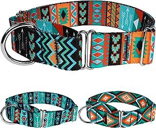 CollarDirect Martingale Dog Collar Nylon Safety Training Tribal Pattern Adjustable Heavy Duty Collars for Dogs Medium Large