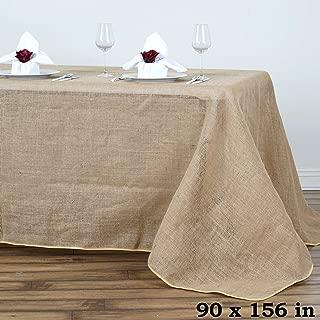 Efavormart 90x156 Wholesale Natural Rustic Burlap Tablelinens Jute Rectangle Tablecloth for Wedding Event Decoration
