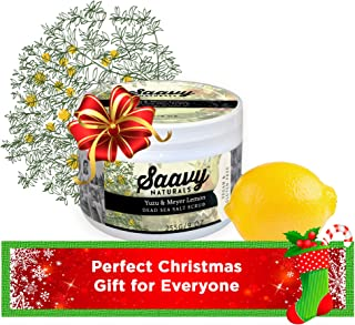Yuzu & Meyer Lemon Salt Scrub   Organic, Gluten-Free & Vegan Exfoliator   Body Scrub for the Shower   9oz